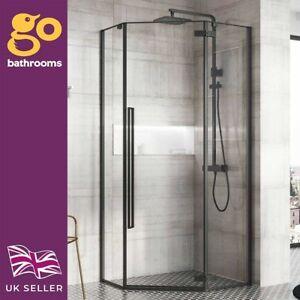 Tudor Penta Shower Enclosure 900mm Matt Black Hinged Door Shower Tray