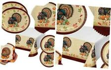 Harvest Turkey Thanksgiving Party Supplies Fall Oval Plates, Napkins & Table Cov