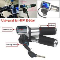 48V Electric Bike Scooter Throttle Grip Handlebar LED Screen Digital Meter 22mm