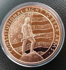 5 oz 999 Fine Copper Bullion 2nd Amendment USA Flag Patriot in coin capsule.
