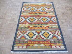 5 x 8 Geometric Dhurry Kilim Flat Weave Hand Woven Reversible Rug G6700