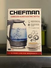 NIB CHEFMAN Cordless Glass Electric Kettle 1.7L Grey Stainless steel 7 Cups