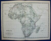 Large original antique map AFRICA CONTINENT, MADAGASCAR, Johnston, 1886