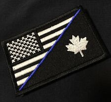 GITD CANADA USA FLAG PATCH BLUE LINE CANADIAN American SWAT POLICE THIN BLACK OP