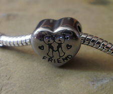 Edelstahl Bead Element Herz Friend Antiksilber Silber für Armband 1440