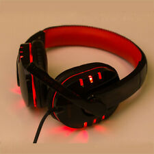 Stereo Gaming Headset Headset USB 3.5mm LED con micrófono para PC ROJO