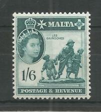 MALTA 1956 1/6 DEEP TURQUOISE-GREEN DEFINITIVE SG,277 M/M LOT 7492A