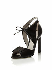 $795 Jason Wu Billie black leather ankle tie sandals shoes heels 38 7.5 ITALY