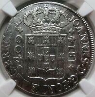 PORTUGAL Joao silver 400 reis Cruzado Pinto 1814 NGC AU Det. UNC