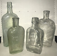 AGS & Co 1 PINT WHISKEY FLASK, & 3 Non Embossed Misc Flasks LOT of 4 Bottles