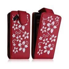 Housse coque étui pour Samsung Wave 2 S8530 motif fleur couleur rouge