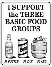 I Support The Three Basic Food Groups... metal wall sign (ss)