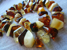 26,7 IN Genuine Knotted Mixed Faceted Baltic Amber Necklace