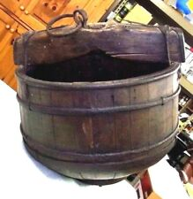 "VERY OLD Antique Primtive Stave WOOD WELL BUCKET - BIG! 19"" 25lbs REDUCED MORE!"