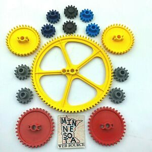 15 Knex Gear Lot - Red & Yellow Crown Med & Small Gray K'nex Education Parts