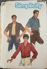 """Vtg Simplicity pattern 6630 Mens front button Shirt sz 44 neckband 16-1/2"""" uncut"""