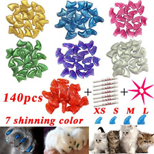 Ymccool 140pcs Cat Nail Caps Pet Cat Kitty Soft Claws Covers Control Paws of 7 7