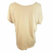 Avenue Womens 18 20 Cap Sleeve Casual Cotton Blouse Diagonal Jeweled Bling Beige