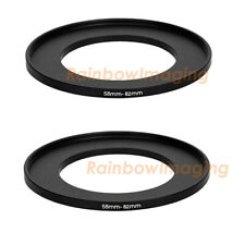 (2 Pack) 58-82mm 58 mm to 82 mm Metal Step Up Lens Filter Ring Adapter US Seller