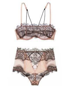 Victoria's Secret Luxe Very Sexy Unlined Balconette Bra Thong Sheer Black/Beige