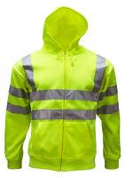 WWK Mens Zipped Hi Vis Viz Hoody Jumper Hoodie Yellow Orange Sizes Small to 3XL