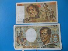 LOT de 2 billets : 100 francs Delacroix + 200 francs Montesquieu