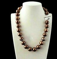 Brown 12mm Genuine South Sea Shell Pearl Round Beads Necklaces 18'' AAA