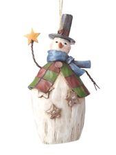 JIM SHORE~FOLKLORE SNOWMAN W STAR & TOP HAT~ORNAMENT~CHRISTMAS~NEW 2017~4058774
