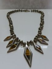 RARE EARLY 1950s LOS BALLESTEROS STERLING SILVER TIGERSEYE MEXICO NECKLACE