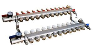 11-Branch PEX Radiant Floor Heating Pipe Distributor Manifold Set