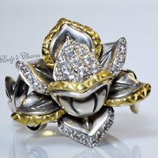 Barbara Bixby White Topaz Lotus Sterling Silver 18k Gold Ring 7