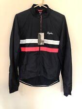 RAPHA BREVET L/S Windblock Cycling Jersey – Dark Navy Hi-Vis White/Pink -Size L