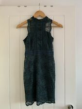 Topshop Petite Dark Green Lace Dress Size 8