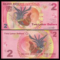 Silver Reserve Australia 2 Lunar Dollars, 2017, UNC>Rooster