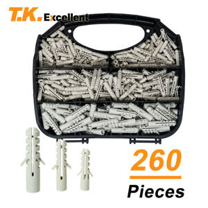 Plastic Drywall Ribbed Anchors Solid Materials Drywall Anchor Kit,260 Pcs