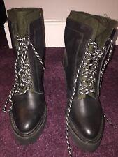 Shelly's London Celee Lace Up Black Leather Platform Heel Boots Size 8