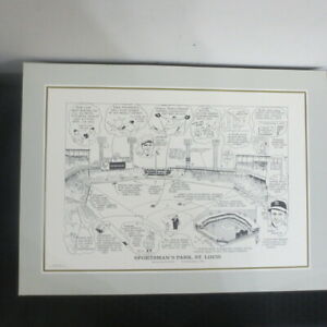 1990 Sporting News 16x22 Litho by Amadee Sportsman Park Musial