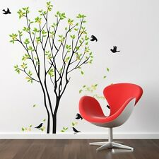 My Lime Orange Tree with 7 Black Birds Removable Wall Stickers Home DIY Decor US