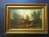 Antique Victorian Landscape, Oil Painting, Farm, Rural, Original, Framed