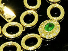 ELEGANT Genuine 9ct Solid Gold NATURAL Emerald & DIAMOND  Line Bracelet 18.25cm