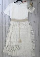 Anthropologie Mermaid Size M 14 16 white crochet long midi boho skirt holiday