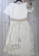 Anthropologie Mermaid Size M 14 16 white crochet long midi boho skirt holiday