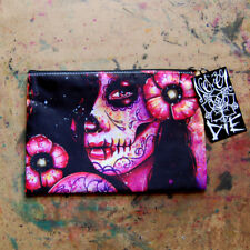Pink Tattoo Art Sugar Skull Girl Catrina Cosmetic Bag Small Clutch Makeup Case