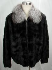 FREE SHIPG ELEGANT 100% REAL U S BLACK FEMALE MINK MEN BOMBER SILVER FOX COLLAR