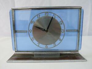 Vintage Art Deco blue glass & chrome mantle clock for restoration