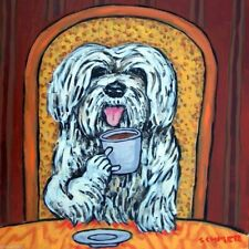 havanese coffee picture dog art tile ceramic animal coaster gift