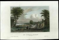 New York c.1850 Gowanus Heights Brooklyn lovely view print hand colored