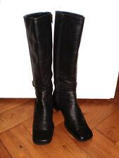 VENTURINI stivali di pelle Overkneestiefel Biker BOOTIES blogger Boho Tg. 38 Merce Nuova