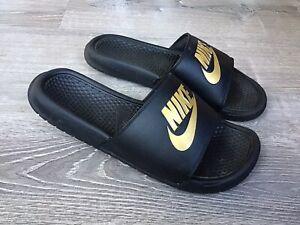 Nike Benassi Just Do It Black Metallic Gold Mens Slide Sandals 343880 016 Sz 12