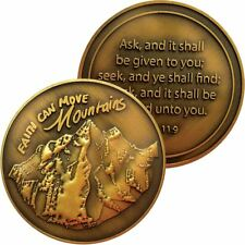 Antique Gold Plated Christian Challenge Coin, Faith Can Move Mountains